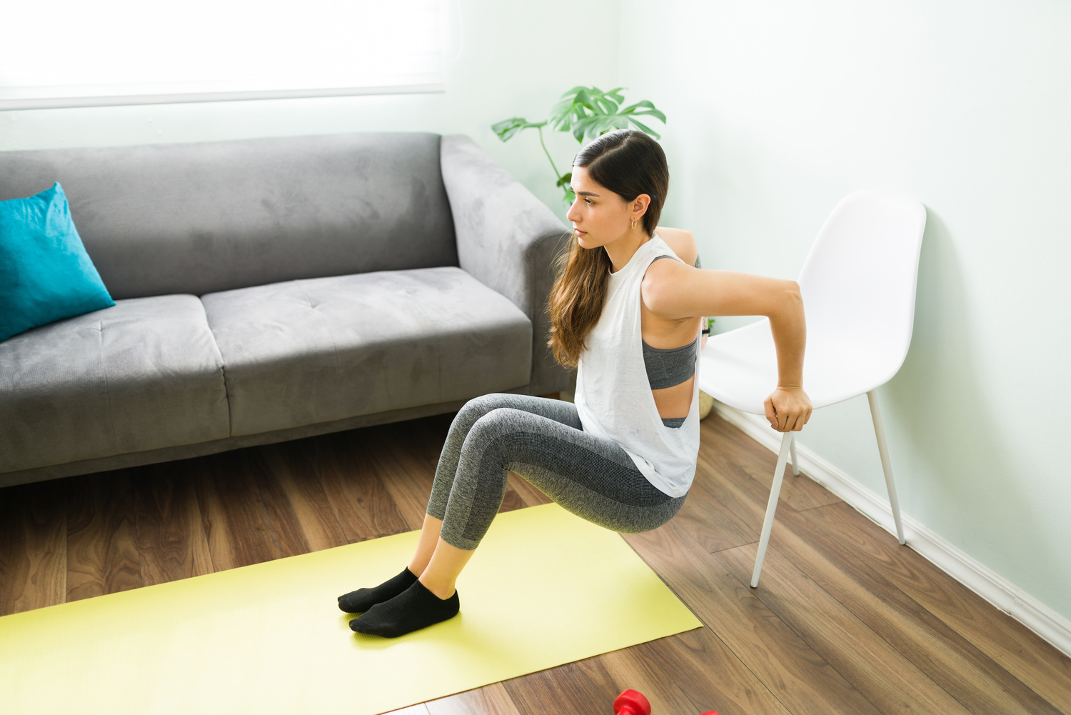 Tricep Dips with a Chair | Shutterstock