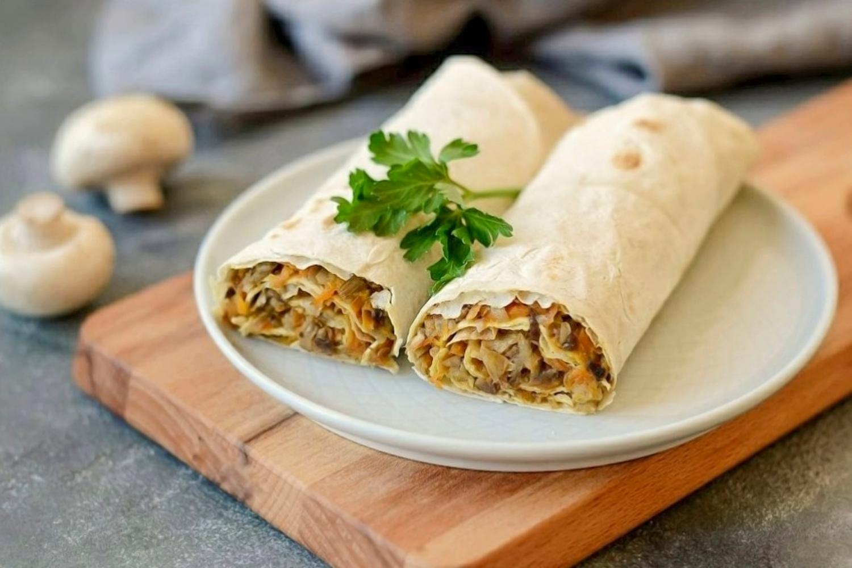 Lavash roll with tofu and veggies